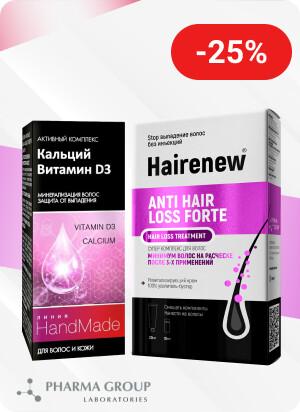 Скидка 25% на средства для волос ТМ Hairenew и ТМ Handmade