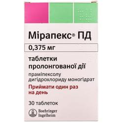 Мирапекс ПД табл. 0.375мг №30