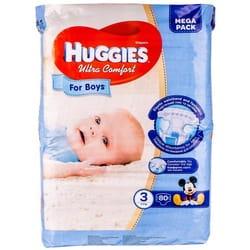 Подгузники для детей HUGGIES (Хаггис) Ultra Comfort Mega (Ультра комфорт мега) 3 для мальчиков от 5 до 9 кг 80 шт