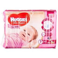 Подгузники для детей HUGGIES (Хаггис) Ultra Comfort Mega (Ультра комфорт мега) 3 для девочек от 5 до 9 кг 80 шт