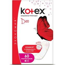 Прокладки ежедневные женские KOTEX (Котекс) Deo (Део) ультратонкие 60 шт