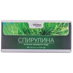 Спирулина таблетки по 0,5 г источник природного йода 8 блистеров по 10 шт Solution Рharm