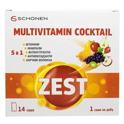 Витамины ZEST (Зест) Multivitamin Cocktail (Мультивитаминный коктейль) с цинком в саше 14 шт