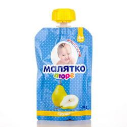 Пюре фруктовое детское Малятко Груша с 4-х месяцев дой-пак 90 г