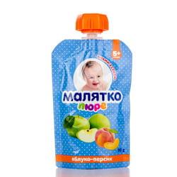 Пюре фруктовое детское Малятко Яблоко и персик с сахаром с 5-ти месяцев дой-пак 90 г