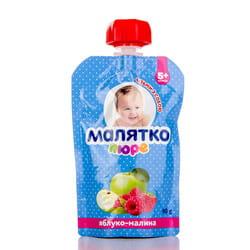 Пюре фруктовое детское Малятко Яблоко и малина с 5-ти месяцев дой-пак 90 г