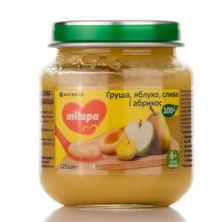 Пюре фруктовое детское Нутриция Milupa (Милупа) Груша, яблоко, слива и абрикос с 6-ти месяцев 125 г