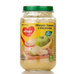 Пюре фруктовое детское Нутриция Milupa (Милупа) Яблоко и банан с овсянкой с 6-ти месяцев 190 г
