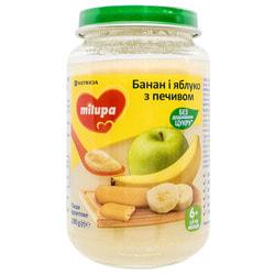 Пюре фруктовое детское Нутриция Milupa (Милупа) Банан и яблоко с печеньем с 6-ти месяцев 190 г
