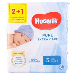 Салфетки влажные детские HUGGIES (Хаггис) Pure (Пьюр) Extra Care Triplo 2+1 168 шт