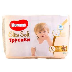Подгузники-трусики для детей HUGGIES (Хаггис) Elite Soft (Элит софт) 6 от 16 до 22 кг упаковка 28 шт
