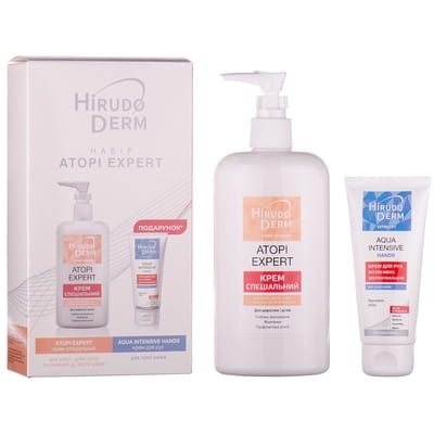 Набор HIRUDO DERM (Гирудо дерм) Atopi Expert (Атопи Эксперт) Крем специальный для сухой, очень сухой, склонной к атопии кожи 400мл + Крем для рук 60мл