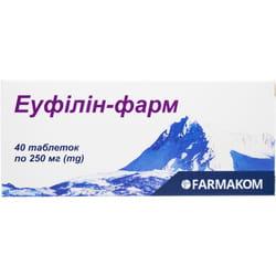 Таблетки для снятия приступов бронхиальной и сердечной астмы Эуфиллин-фарм 40 шт