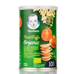 Снеки пшенично-овсяные NESTLE GERBER (Нестле Гербер) Organic Nutripuffs (Органик Нутрипафс) с томатами и морковью 35 г