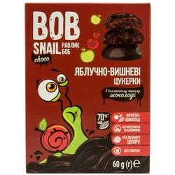 Конфеты детские натуральные Bob Snail (Боб Снеил) Улитка Боб яблочно-вишневые в бельгийском черном шоколаде 60г