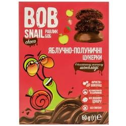 Конфеты детские натуральные Bob Snail (Боб Снеил) Улитка Боб яблочно-клубничные в бельгийском молочном шоколаде 60г