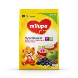 Каша безмолочная детская Нутриция Milupa (Милупа) Мультизлаковая с яблоком, черникой и ежевикой с 7-ми месяцев мягкая упаковка 170 г