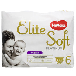 Подгузники-трусики для детей HUGGIES (Хаггис) Elite Soft (Элит софт) Platinum 6 от 15 кг 26 шт