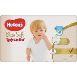 Подгузники-трусики для детей HUGGIES (Хаггис) Elite Soft (Элит софт) 6 от 15 до 25 кг упаковка 32 шт