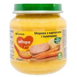 Пюре овоще-мясное детское Нутриция Milupa (Милупа) Морковка с картошкой и говядиной с 6-ти месяцев 125 г