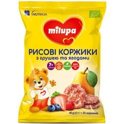 Коржики детские Нутриция Milupa (Милупа) рисовые с грушей и ягодами с 7 месяцев 40 г = 25 шт