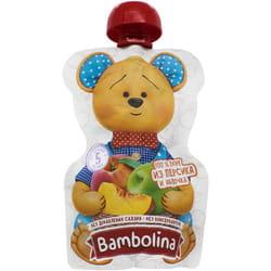 Пюре фруктовое детское BAMBOLINA (Бамболина) Яблоко и персик с 4 месяцев мягкая упаковка пауч 90 г