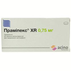 Прамипекс XR табл. прол. д-вия 0,75мг №30