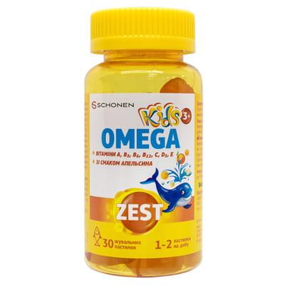 Витамины ZEST (Зест) Kids (Кидс) для детей Омега пастилки жевательные с витамином С флакон 30 шт