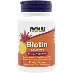 Биотин 5000 мкг NOW (Нау) Источник энергии капсулы флакон 30 шт