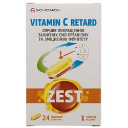 Витамины ZEST (Зест) Vitamin C Retard таблетки для улучшения защитных сил организма и укрепления иммунитета упаковка 24 шт