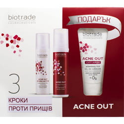 Набор для лица BIOTRADE Acne Out (Биотрейд Акне Аут) для жирной и проблемной кожи с акне крем 60 мл + лосьон 60 мл + гель очищающий 50мл