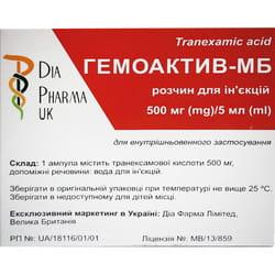 Гемоактив-МВ р-р д/ин. 100мг/мл амп. 5мл №5