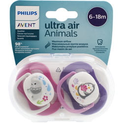 Пустышка силиконовая AVENT (Авент) SCF080/08 Animal (Энимал) от 6 до 18 месяцев для девочек 2 шт