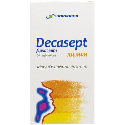 Декасепт лимон таблетки для поддержания здоровья горла и дыхательных путей упаковка 24 шт