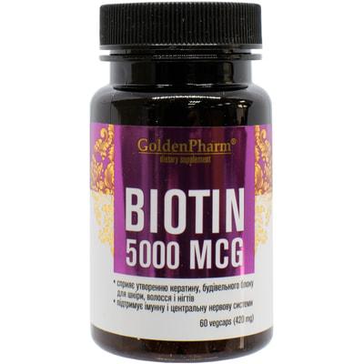 Биотин капсулы для повышения энергии и красоты Голден Фарм флакон 60 шт