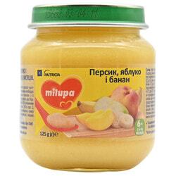 Пюре фруктовое детское Нутриция Milupa (Милупа) Яблоко, банан и персик с 6-ти месяцев 125 г