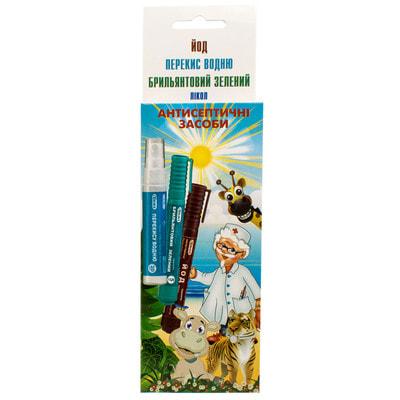 Набор флаконов-карандашей антисептических (перекись водорода 20 мл, йод 5 мл , бриллиантовый зеленый 5 мл)
