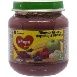 Пюре фруктовое детское Нутриция Milupa (Милупа) Яблоко, банан, черника и малина с 6-ти месяцев 125 г