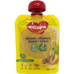 Пюре фруктовое детское Нутриция Milupa (Милупа) Яблоко, абрикос, банан, просо, рожь с 6-ти месяцев 80 г