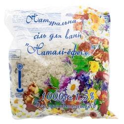 Соль для ванн Натали-эффект натуральная без ароматизаторов 1 кг