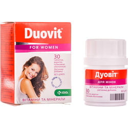 Дуовит для женщин витамины и минералы таблетки без сахара с витамином С, витамином Д и цинком флакон 30 шт