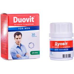 Дуовит для мужчин витамины и минералы таблетки без сахара с витамином С, витамином Д и цинком флакон 30 шт