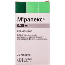 Мирапекс табл. 0,25мг №30