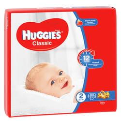 Подгузники для детей HUGGIES (Хаггис) Classic (Классик) 2 от 3 до 6 кг 88 шт