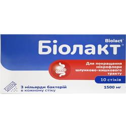 Биолакт порошок для улучшения функций желудочно-кишечного тракта по 1500 мг в стиках 10 шт