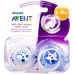Пустышка силиконовая ночная AVENT (Авент) от 6 до 18 месяцев 2 шт
