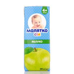 Сок фруктовый детский Малятко яблочный осветленный 200 мл