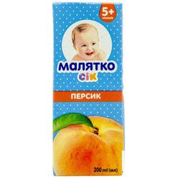 Сок фруктовый детский Малятко Персиковый с мякотью 200 мл