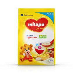 Каша молочная детская Нутриция Milupa (Милупа) Манная с фруктами с 6-ти месяцев мягкая упаковка 210 г