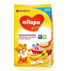 Каша молочная детская Нутриция Milupa (Милупа) Мультизлаковая с фруктами, хлопьями и шариками с 10-ти месяцев мягкая упаковка 210 г